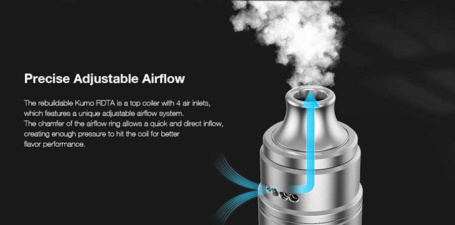 Adjustable airflow allows the Aspire Steampipes Kumo RDTA to be used to deliver an MTL or DTL vape.