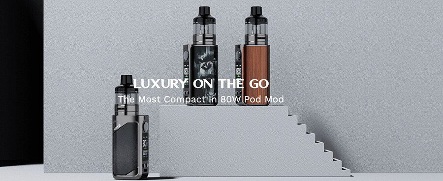 The Vaporesso Luxe 80 kit features a compact build and a high power output for pocket-friendly sub ohm vaping.