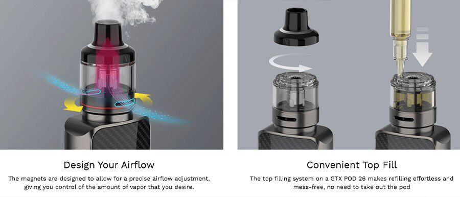 Combining adjustable airflow and top filling capabilities, the GTX 26 pod tank is a reliable option that delivers better performance.