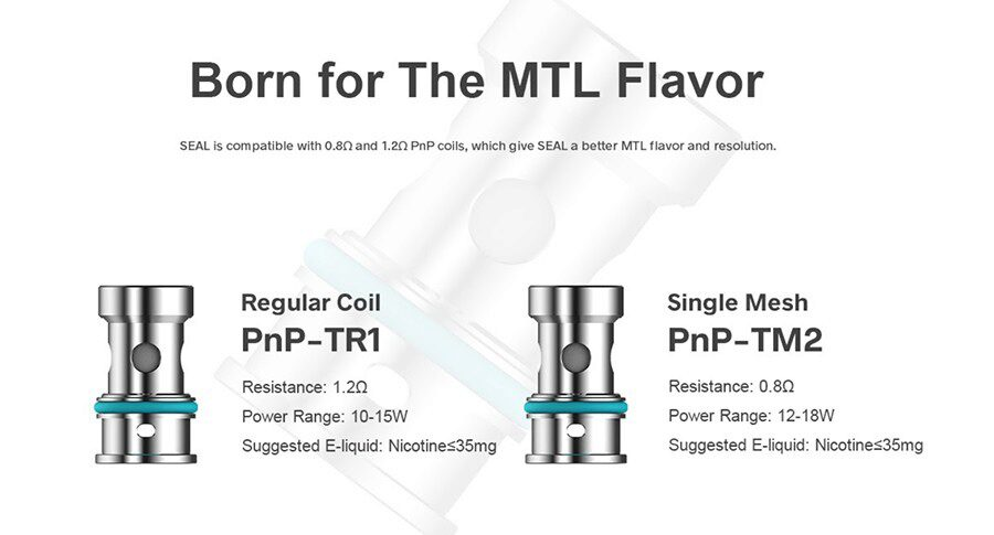 Experience your choice of an MTL or DTL vape with the wide selection of compatible PnP coils for the SEAL pod vape kit.