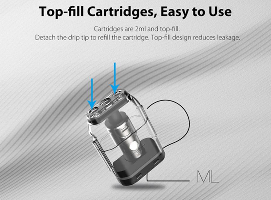 The Caliburn pods feature a 2ml e-liquid capacity with a top fill design.