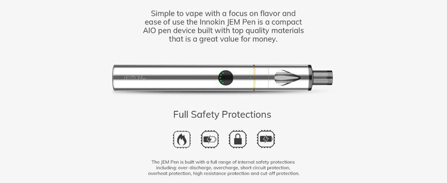 Innokin Jem Pen is both a compact and simple to use vape kit with no need for maintenance.