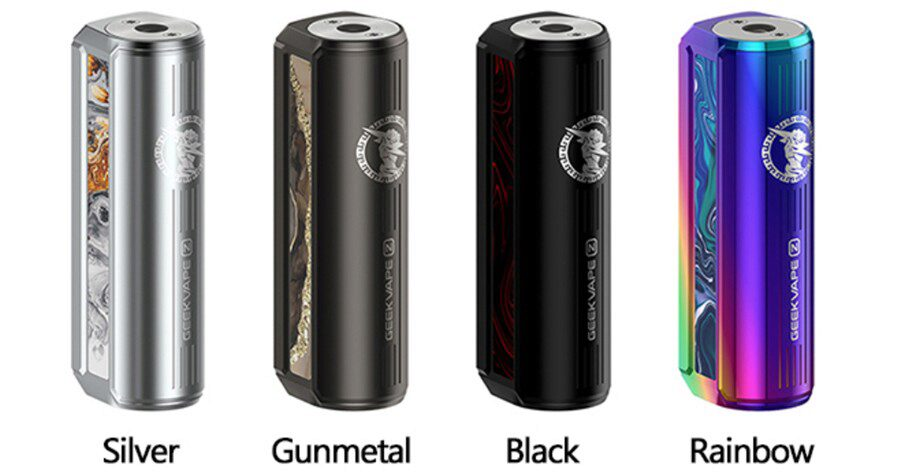The GeekVape Z50 mod comes in plenty of design and colour options including silver, gunmetal, black and rainbow.