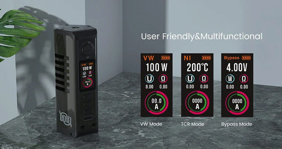The Odin 100W Mini mod is simple to use and has multiple features for customising your kit.