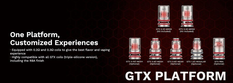 The Vaporesso Target 80 pod kit has the ability to produce a DTL (Direct To Lung) or MTL (Mouth To Lung) inhale thanks to compatibility with the GTX coil range.