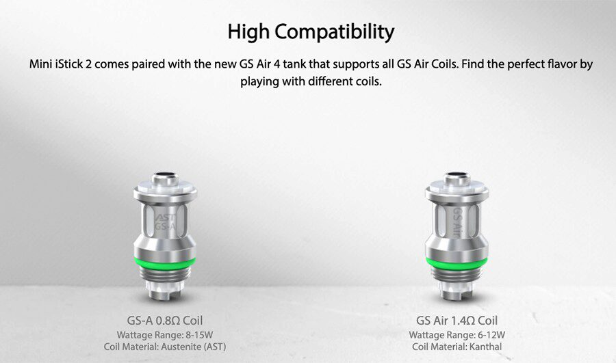 With a wide range of GS Air coils to choose from, it's easy than every to customise the Eleaf Mini iStick 2 kit to deliver your perfect vape.