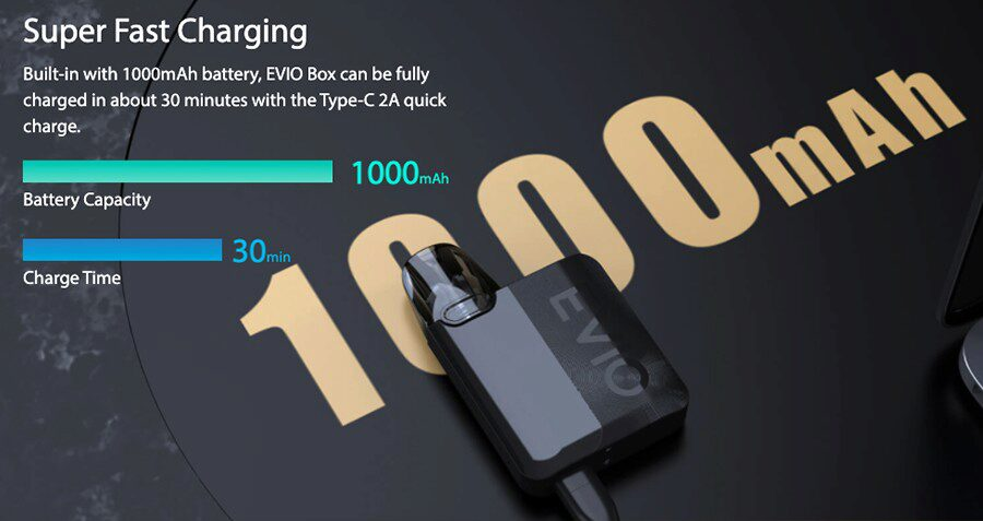Capable of delivering up to a full day of vaping between charges, the Evio Box pod kit's 1000mAh battery can be quickly recharged too.