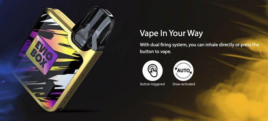 You can use the Joyetech EVIO Box as either an inhale activation kit or single button operation.
