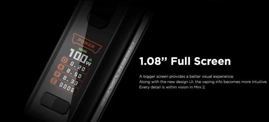 The GeekVape M100 Aegis Mini 2 kit has a big screen for easily navigating the UI.
