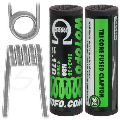 0.17 Ohm Wotofo Pre Built Triple Fused Clapton Vape Coils