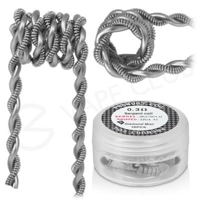 0.3 Ohm Diamond Mist Premade Serpent Coils