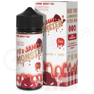 PB & Strawberry 100ml Shortfill by PB & Jam Monster
